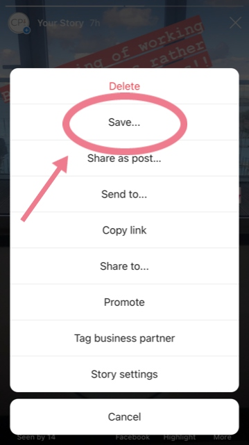 How to save an insta story