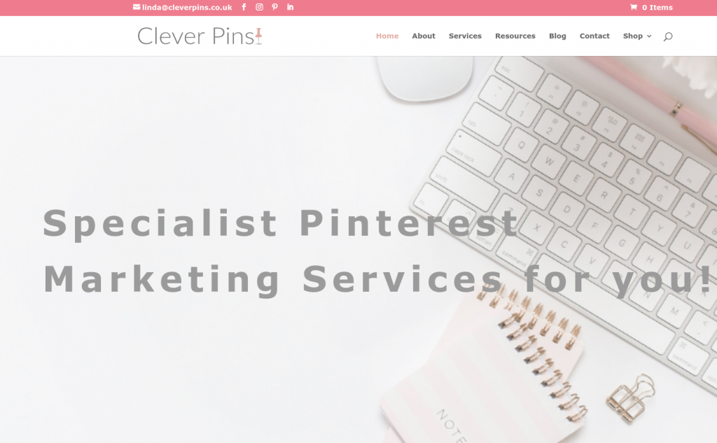 screenshot of Clever Pins' website homepage