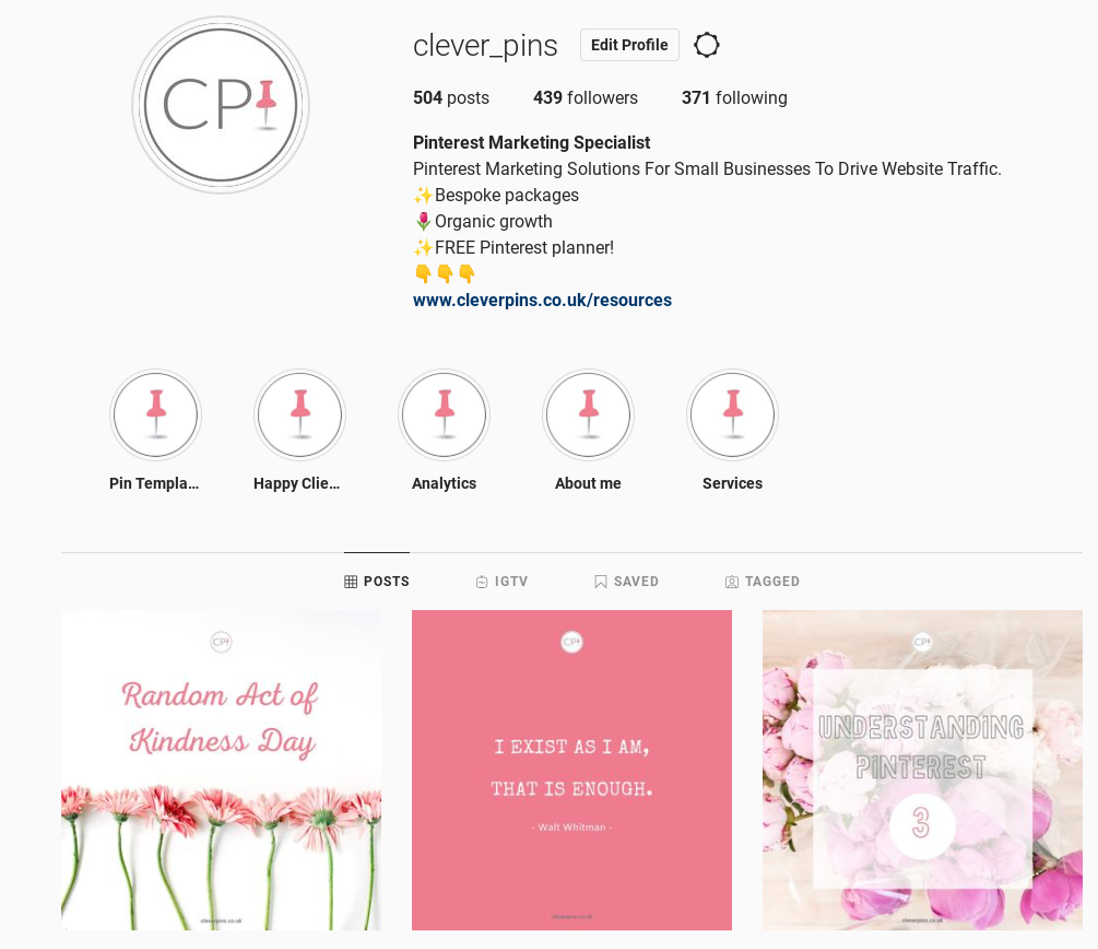 Screenshot of Clever PIns' Instagram profile